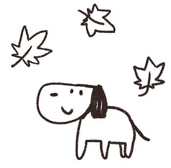 紅葉のイラスト「もみじと犬」線画