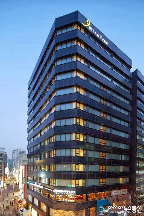 View Of Nine Tree Hotel Myeongdong In The Evening
