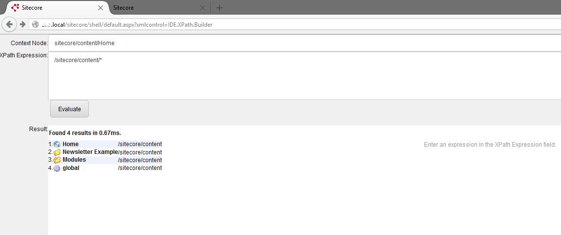 sitecore sitecore developer center xpath builder