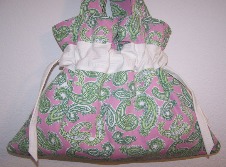 Handmade Drawstring Handbag Purse Pink Green Paislies CUTE!