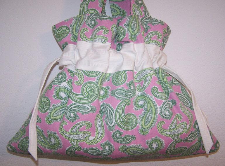 Handmade Drawstring Handbag Purse Pink Green Paislies CUTE!