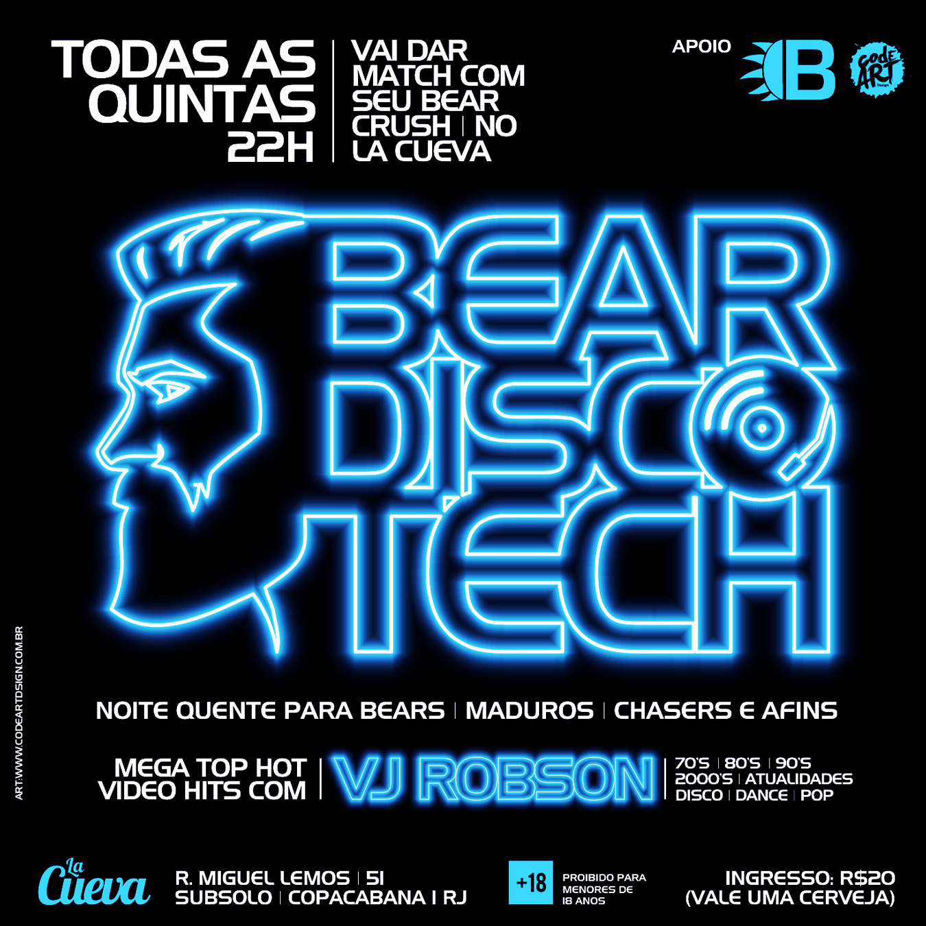QUINTA-FEIRA - 22H - bear discotech