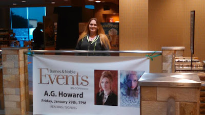 Amber, the Blonde Writer and A.G. Howard's book signing banner
