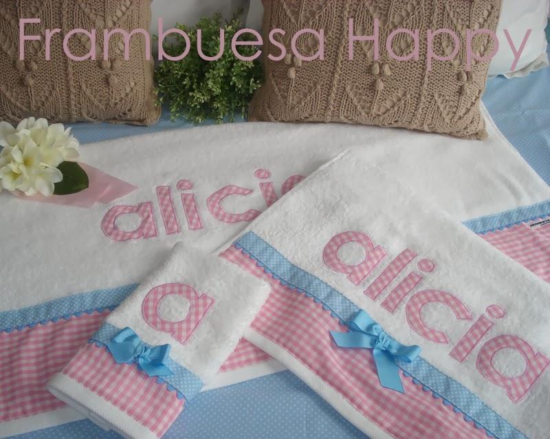 Frambuesa happy juego de toallas personalizada un regalo - Toallas infantiles personalizadas ...
