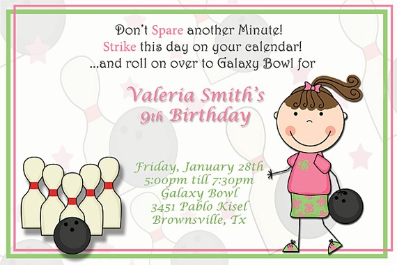 Girls birthday invitations bowling birthday party invitation girl bowling birthday party invitation girl filmwisefo