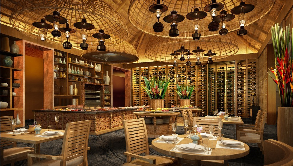 wood west restaurant interior design with classic lamps circle wood table and wine rack