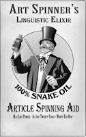 Picture of a snake oil salesman poster backing up blog post on article spinning being bad content and bad PR