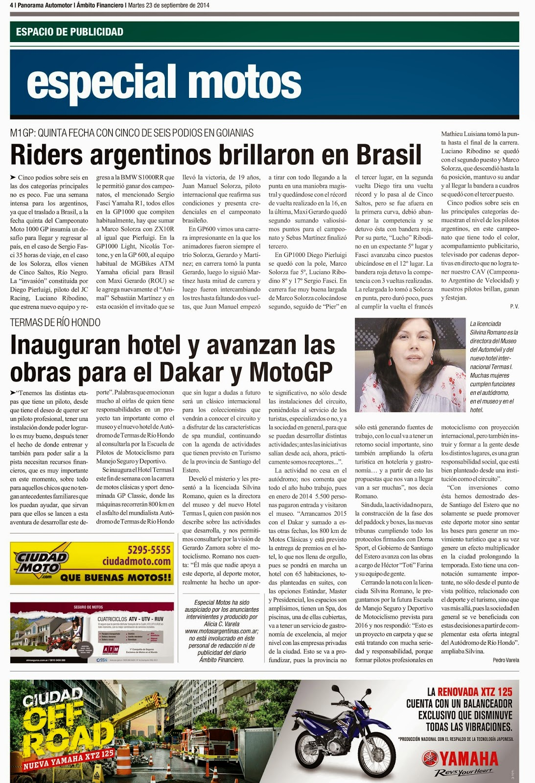 Especial Motos en Diario Ambito Financiero del 23 - 09- 2014