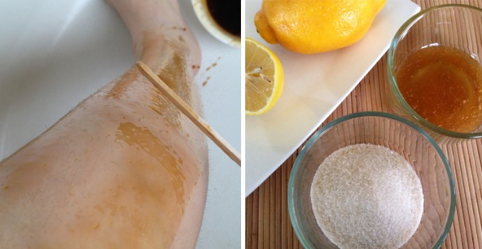 Leg waxing with sugar and honey