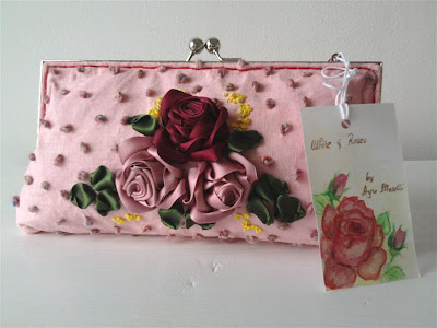 silk ribbon embroidery shabby purse