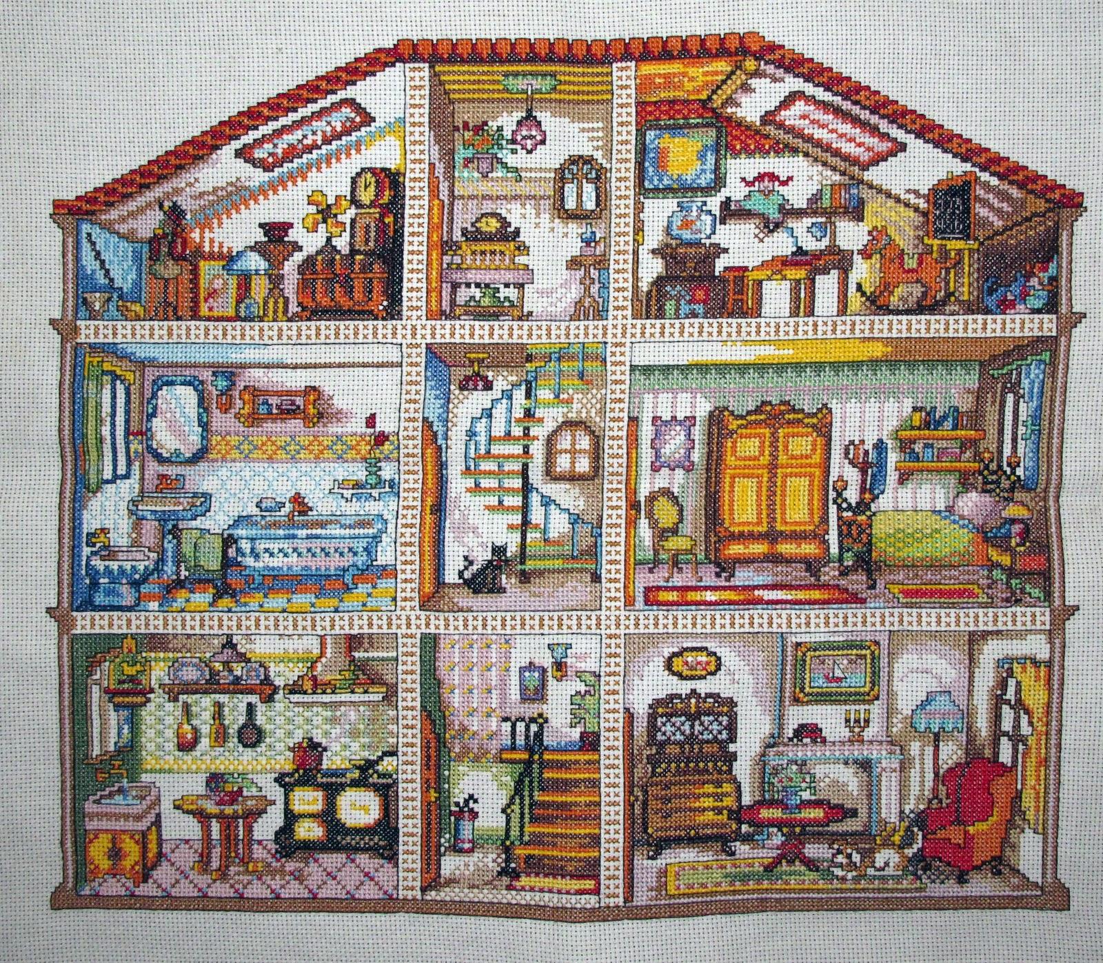 Схема вышивки крестом домик в разрезе