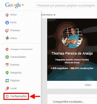 Configurações Google+