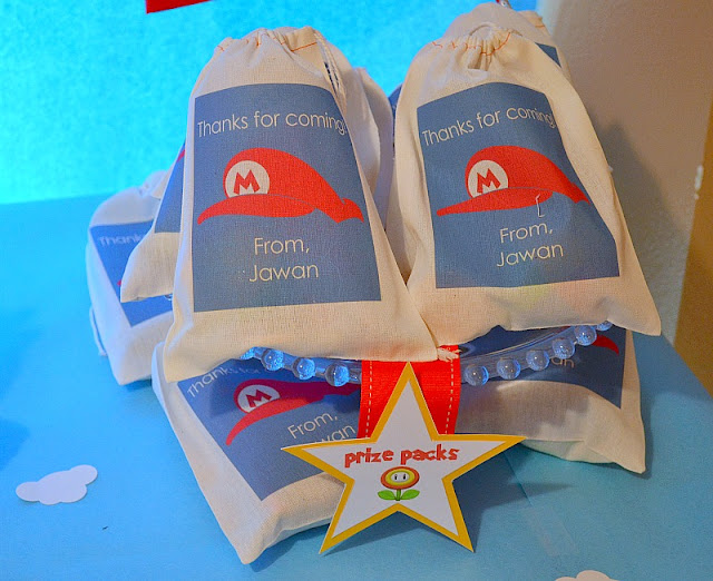 Paper Nook drawstring favor bags Mario party