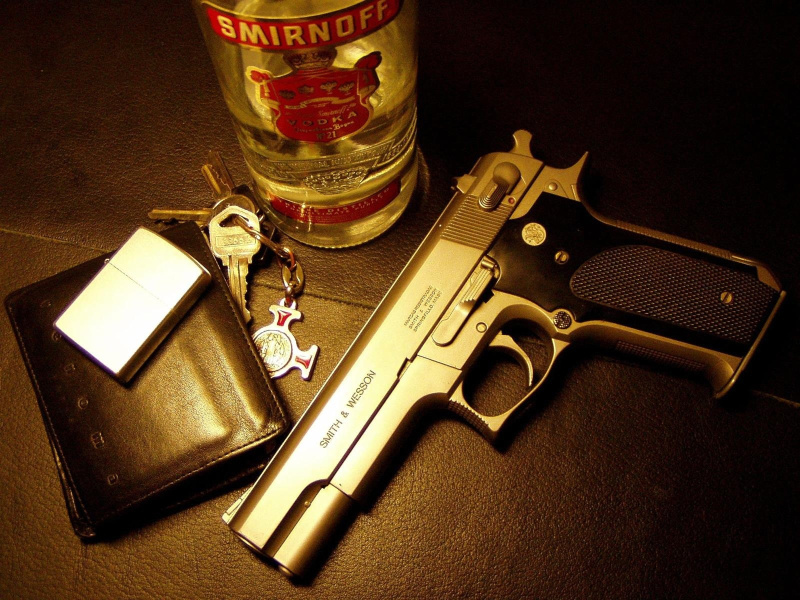 Gun, Bottle, key and wallet Gold HD Wallpaper | Hd Wallpaper