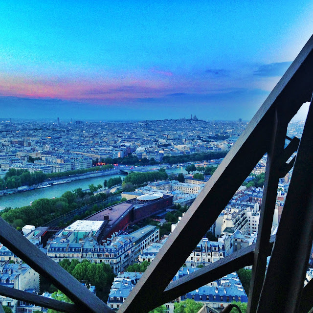 Sunset view from the Eiffel Tower in Paris France. Taken with my LifeProof iPhone 5 in Magenta