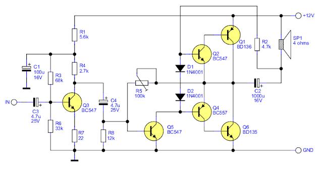2.5 W audio amplifier with transistors schematic circuit