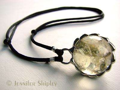 Citrine Sphere Pendant Necklace Sold at http://www.etsy.com/shop/DoodlepunkArt