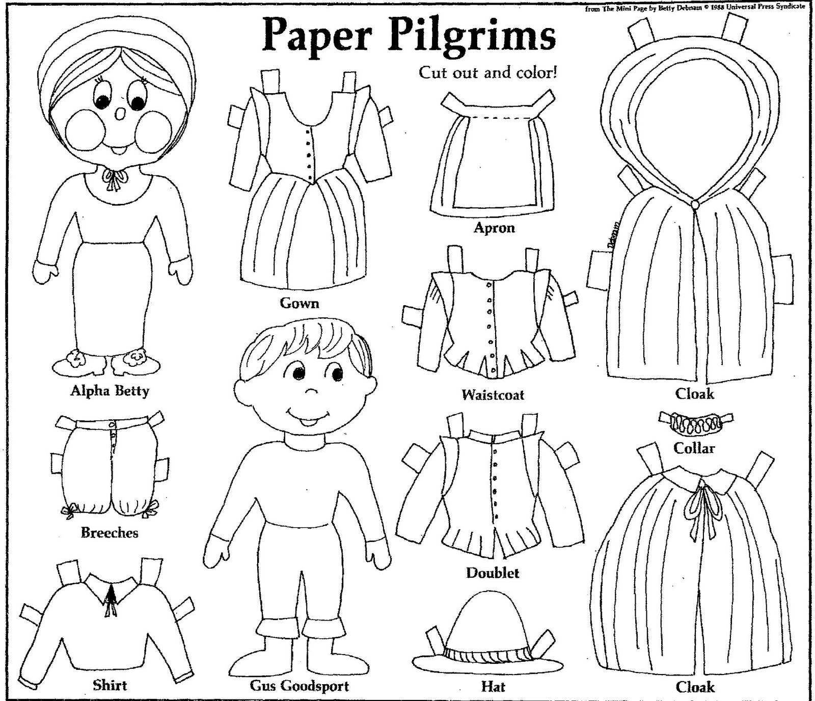 Cut And Color : Mostly Paper Dolls: PAPER PILGRIMS to Cut Out and Color! 1988