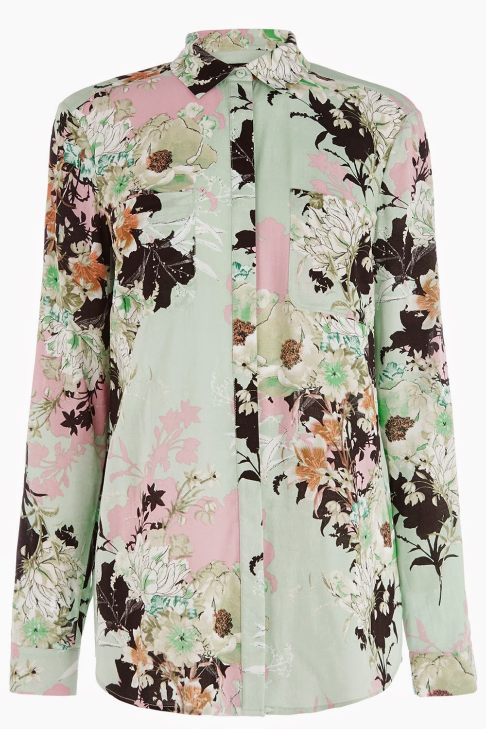 warehouse green flower shirt