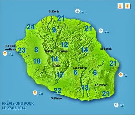 Prévisions météo Réunion pour le Jeudi 27/03/14