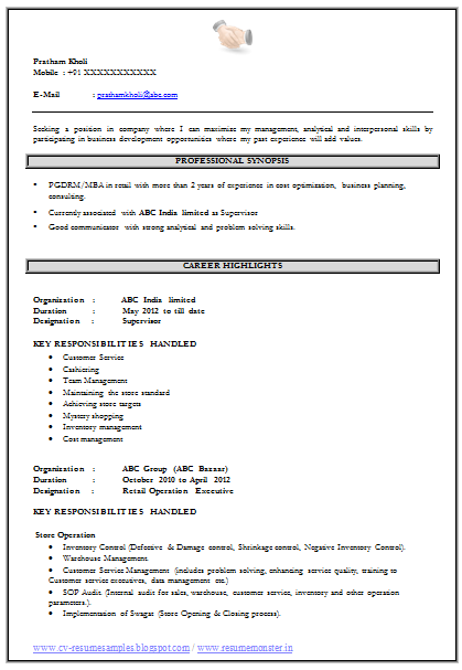 Free Download Link For MBA Resume Format  Resume Free Download