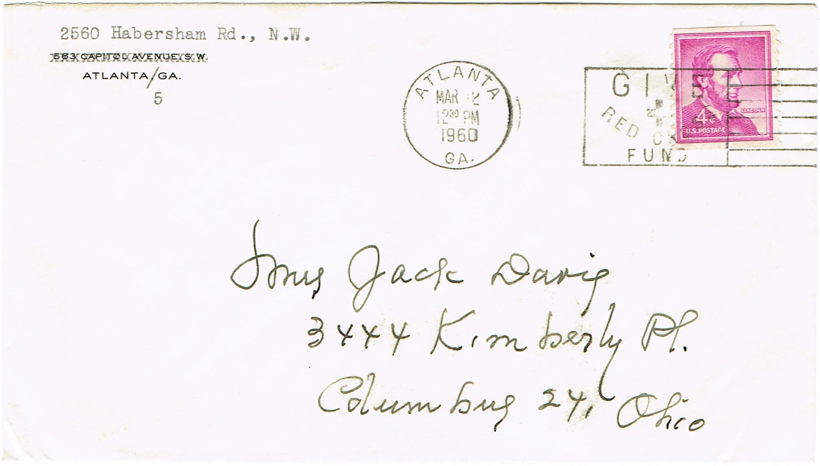 envelope for 1960 letter from Atlanta Georgia to Columbus Ohio regarding the publication of a volume on the Broyles family genealogy