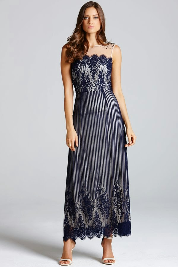 Little Mistress Blue Stripe Lace Layered Maxi Dress