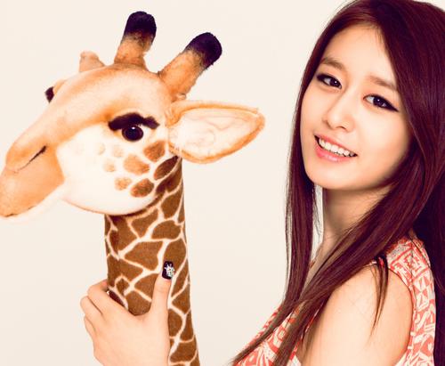 """T-ARA JIYEON Pic """"with Giraffe"""""""
