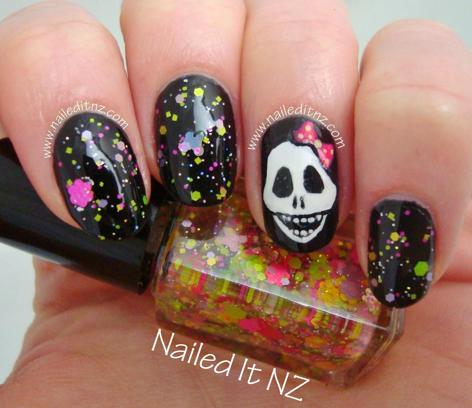 Girly skull nail art star kin nail polish prinsesfo Gallery