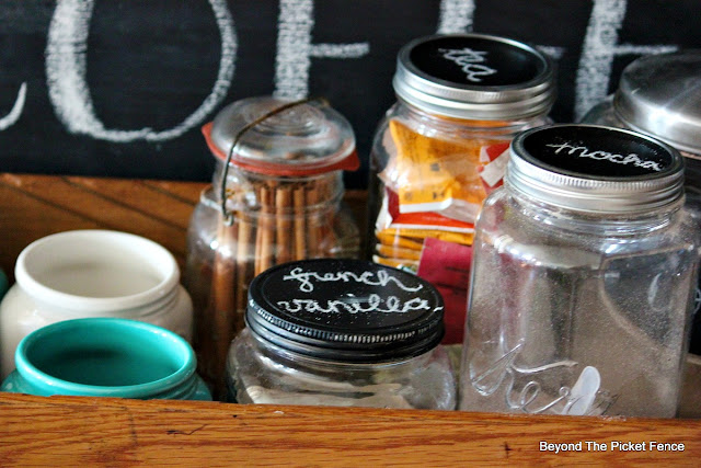 old jars, upcycled, repurposed, coffee station, old drawer, chalkboard paint,http://bec4-beyondthepicketfence.blogspot.com/2015/10/coffee-station.html
