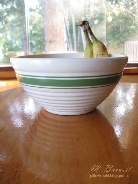 Vintage white fruit bowl with green stripes, made in the USA