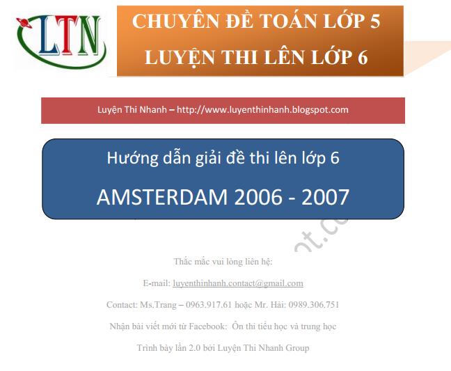 ĐÁP ÁN ĐỀ THI MÔN TOÁN VÀO LỚP 6 TRƯỜNG AMSTERDAM 2006-2007