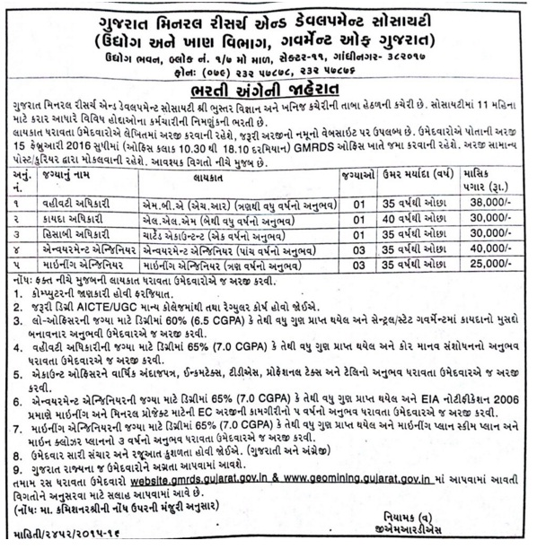 Vacancy For Mining Engineer At GMRDS 2016 - Gujarat's Mining Engineer