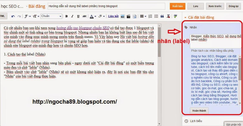 huong dan su dung the label (nhan) trong blogspot