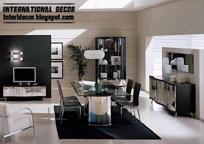 modern Italian dining room furniture ideas, black and white dining room furniture design