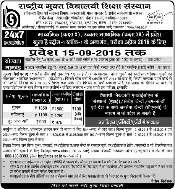 NIOS Admission 2015-16