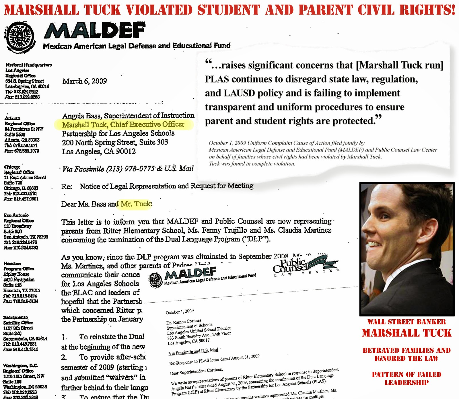 Smoking Gun! Wall Street Banker Marshall Tuck violated student and parent's civil rights!