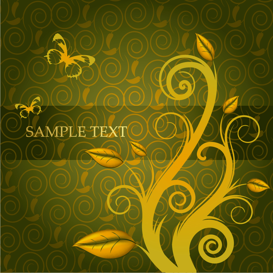 ゴージャスな金色の蔓が巻いた背景 flower gorgeous fashion pattern イラスト素材4