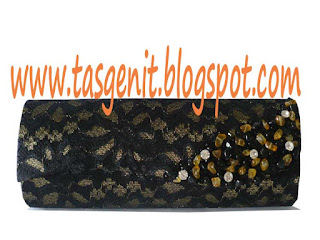 tas pesta clutch bag brokat hitam