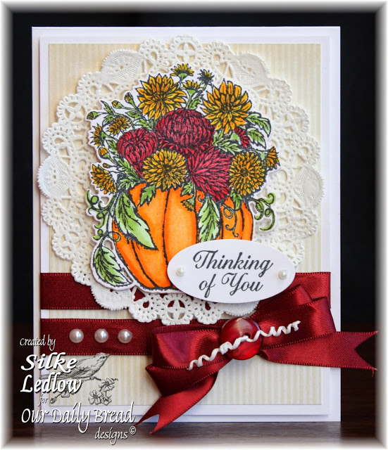 Stamps - Our Daily Bread Designs Fall Flower Pumpkin, Ornate Borders Sentiments, ODBD Custom Pumpkin with Flowers Die