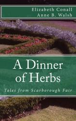 Cover of A Dinner of Herbs shows an intricate garden bed.