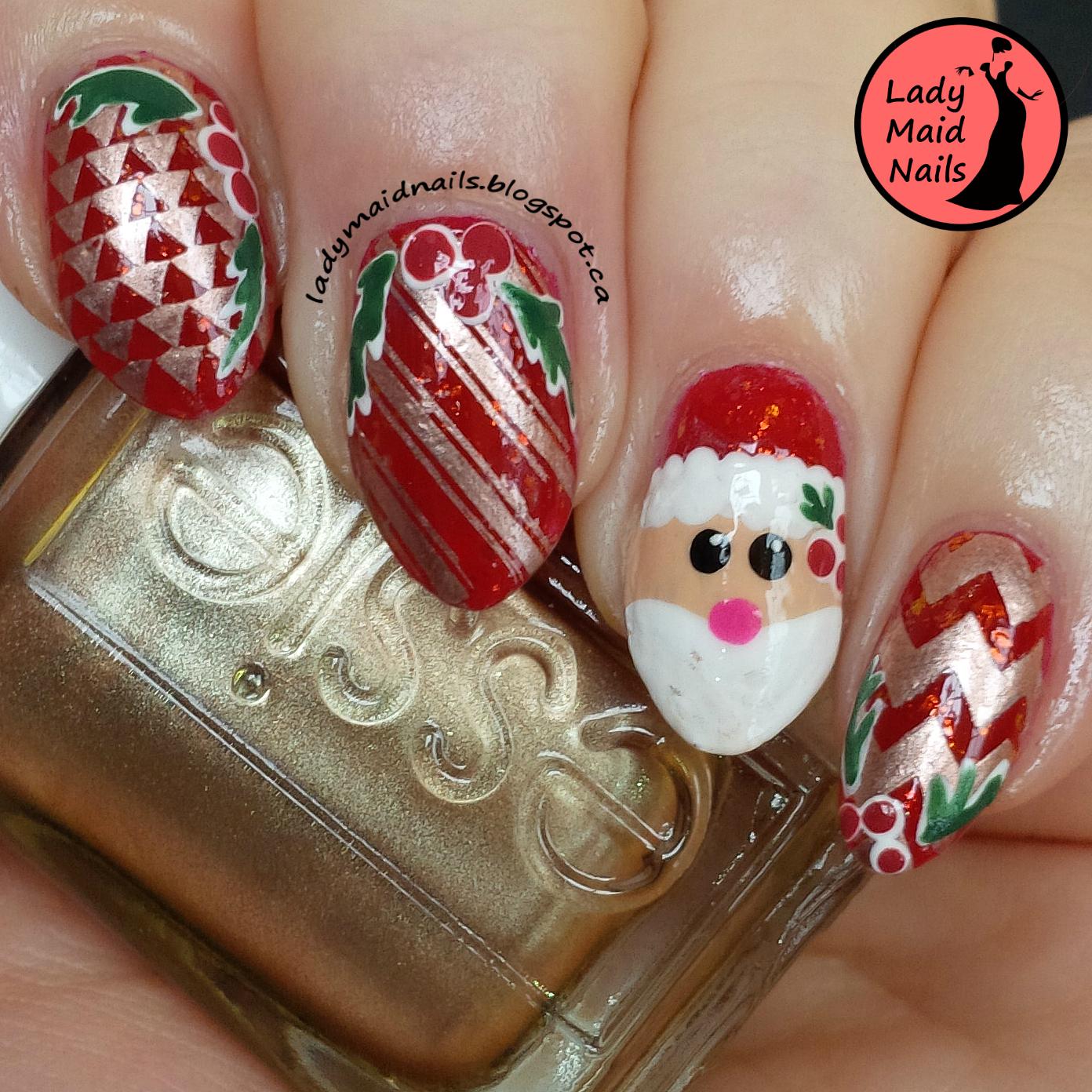 Santa Nail Art: Lady Maid Nails: Santa Nail Art