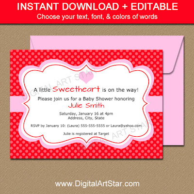 valentine party invitation in red & pink for baby shower, bridal shower