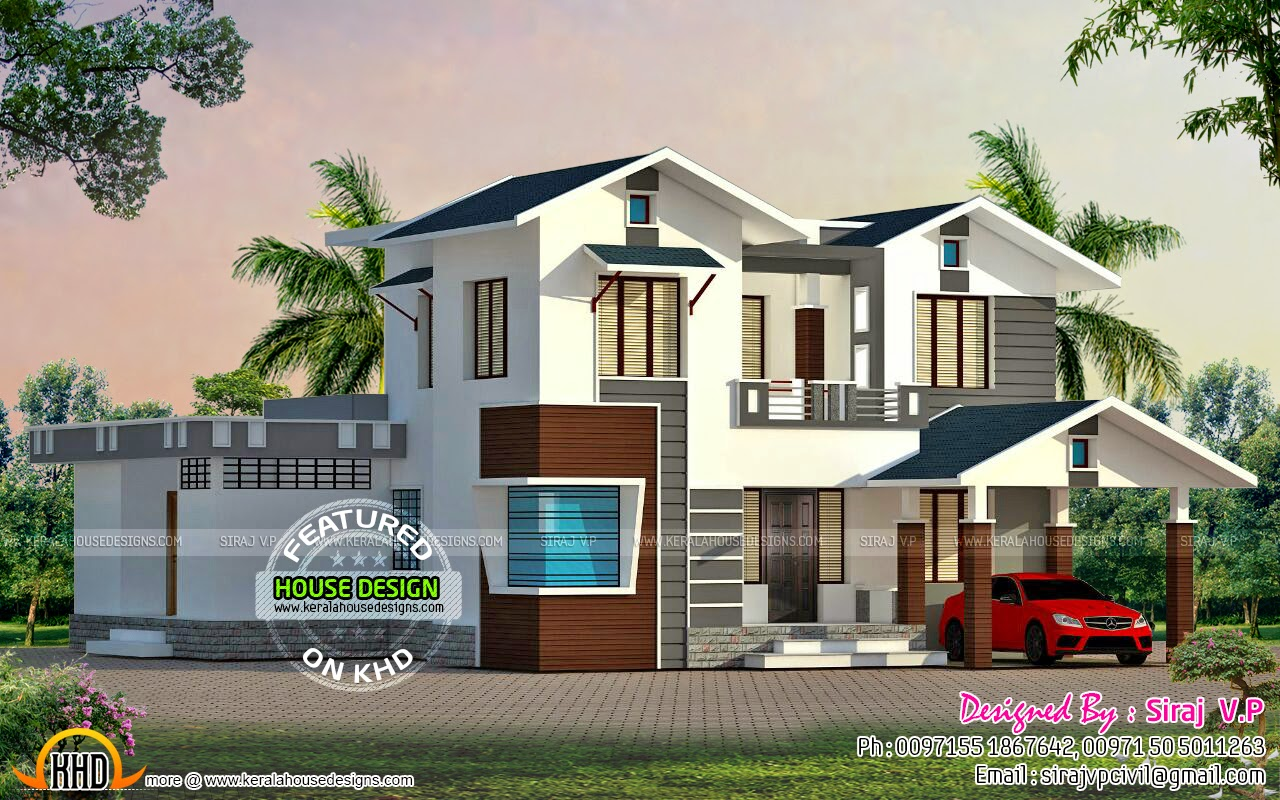 Low cost double storied home kerala home design and for Kerala home designs low cost