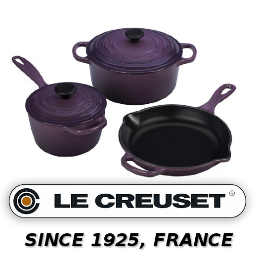 Le Creuset Signature 5-Piece Cast Iron Cookware Set, Cassis - image