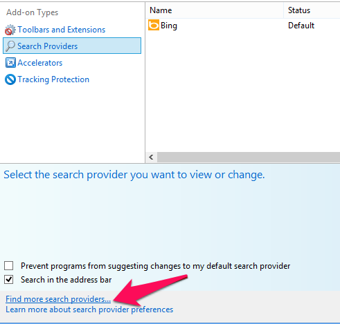 how to change your search engine on internet explorer