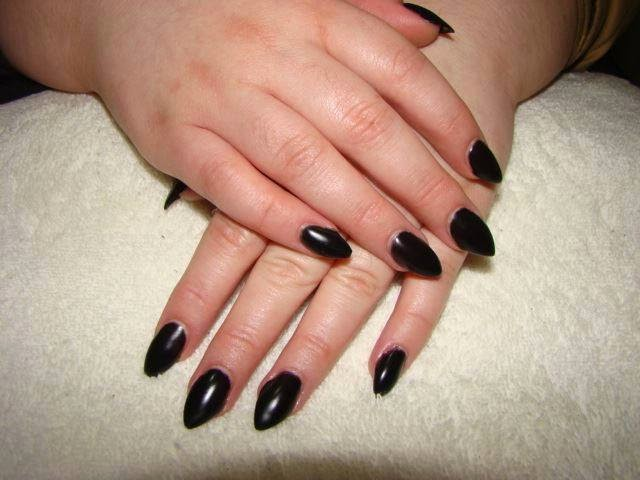 acrylic extensions + black matte LED polish manicure