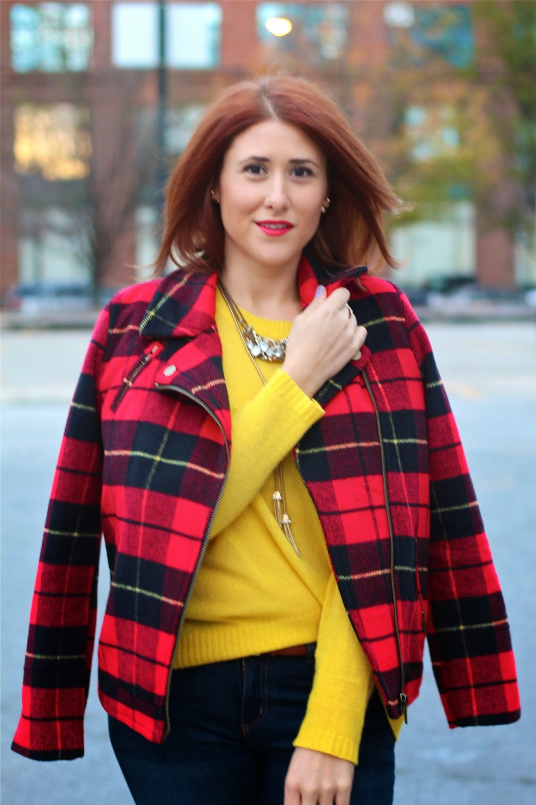 plaid, moto, jacket