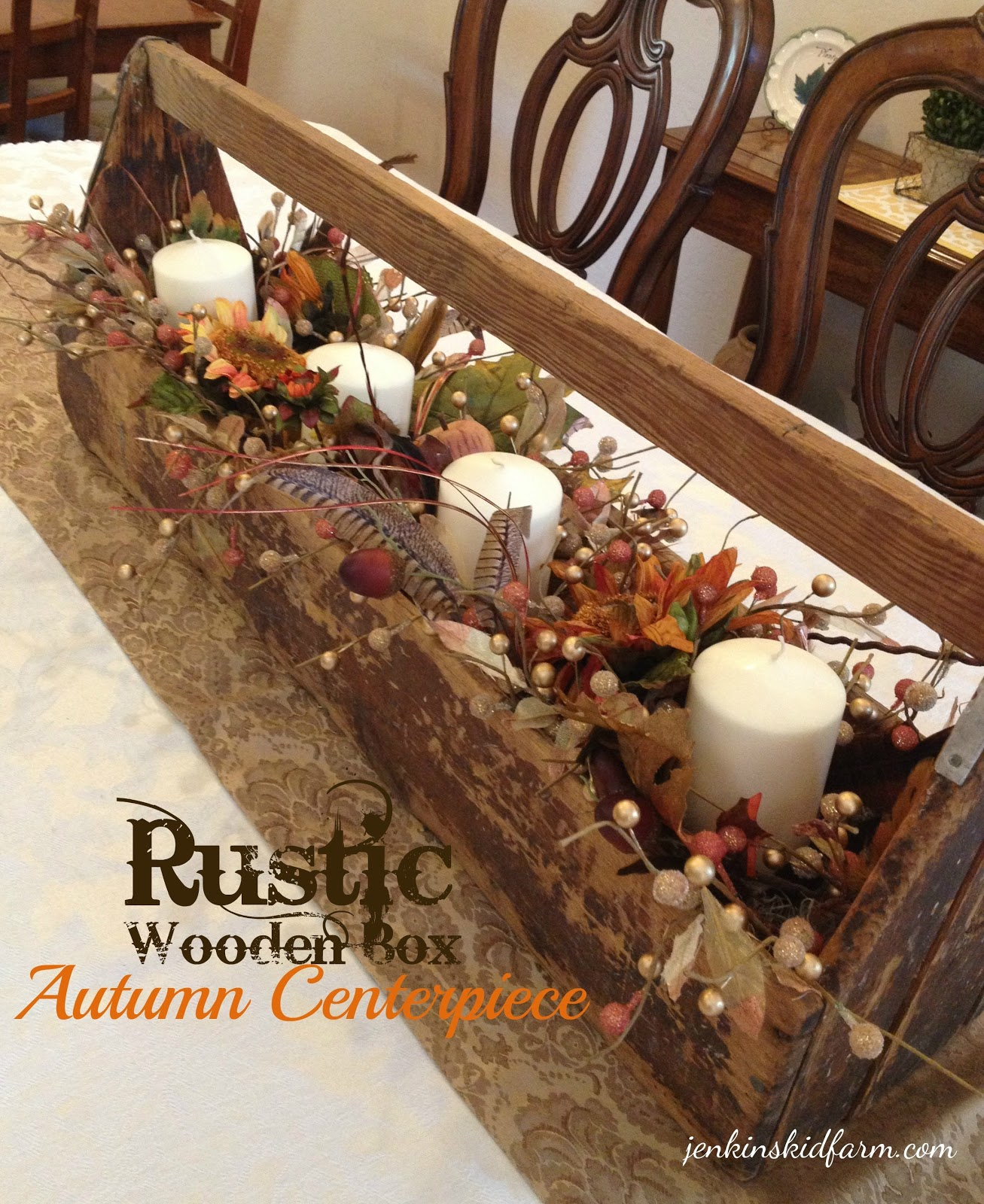 Jenkins kid farm the rustic wooden box autumn centerpiece for Rustic dining table centerpieces