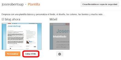 ir a editor HTML en blogger